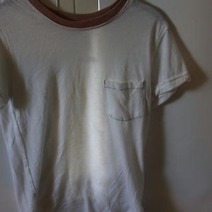 Free people white tee w/ color detail